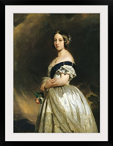 "GreatBIGCanvas ""Queen Victoria (1837-1901) 1842 (Oil on canvas)"" by Franz Xaver Winterhalter Photographic Print with black Frame, 26"" X 36"""""