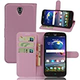 ZTE Grand X 3 Case,Gift_Source [Card Slots][Stand View] Premium Litchi Texture PU Leather Holster Magnetic closure Folio Flip Wallet Case Cover for ZTE Grand X3 / ZTE Z959 [Pink]