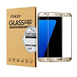 ISKIP Screen Protector for Samsung Galaxy S7 Edge, Tempered Glass 4D Curved Full Coverage Film HD Ultra Clear 9H Hardness Screen Protector for Samsung Galaxy S7 Edge [Not S7]-Gold