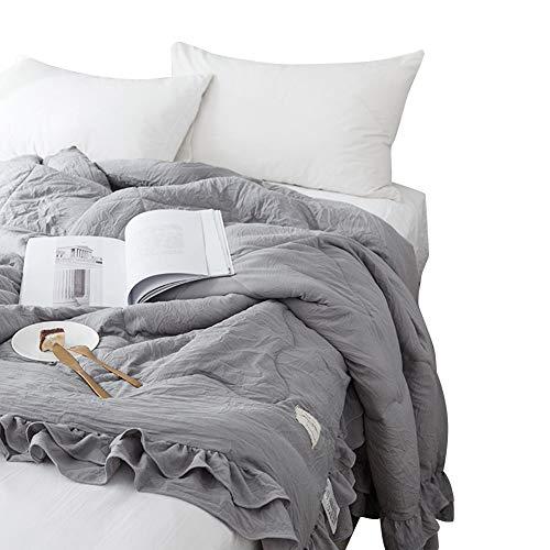 Preferhouse Ruffle Summer Quilt Ultra Soft Seersucker Bed Spread Bedding Blanket
