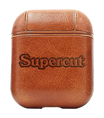 Supercut (Vintage Brown) Air Pods Protective Leather Case Cover - a New Class of Luxury to Your AirPods - Premium PU Leather and Handmade exquisitely by Master Craftsmen