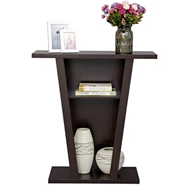 Topeakmart V Console Sofa Entry Table with Two Shelves Hall Furnishings, Espresso