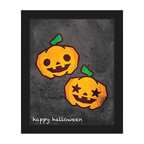 Happy Halloween Pumpkins: Super Cute Smiling Carved Pumpkins Chalkboard-look