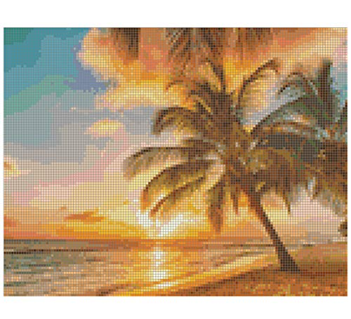 - Gwen Street Designs Cross Stitch Pattern Printed Graph Sunset Paradise New X-Stitch