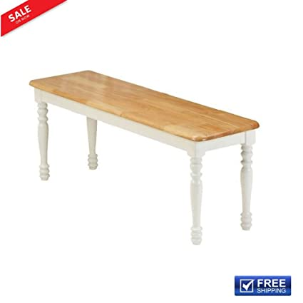 Farmhouse Dining Room Bench Kitchen Wood Windsor Dinning White Oak Wood  Antique Durable Solid Wood For