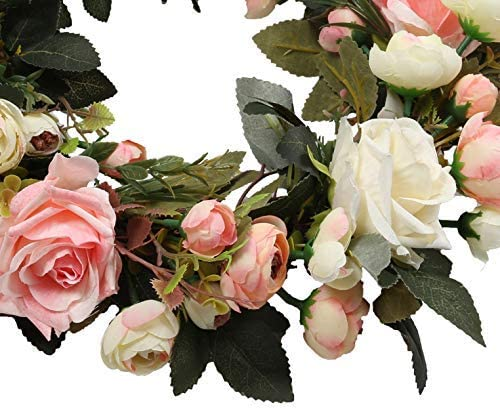 Rose Floral Hoop Set of 3 Parties Hochzeiten Pauwer Kranz 3er Set Handgefertigt Rose Blumenkranz mit Eukalyptus Golden Metall Ringe Blumen Hoop Wandkranz f/ür Zuhause T/üren