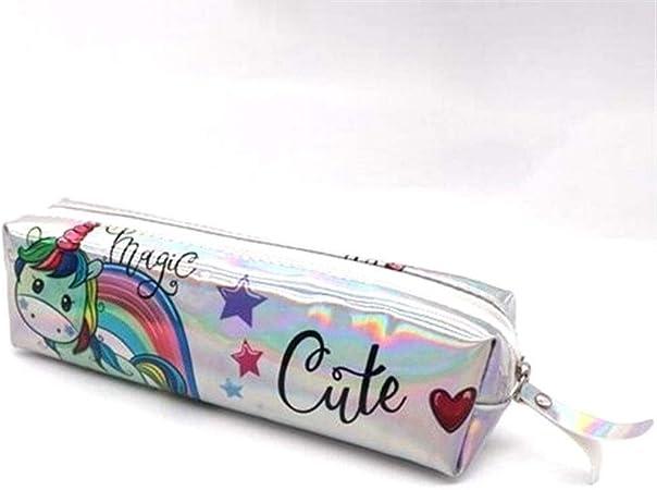 Estuche holográfico Iridiscente for niñas Boy PU Útiles Escolares Papelería Regalo Caja de lápices Linda Bolsa de lápices Estuxhes (Color : K): Amazon.es: Hogar