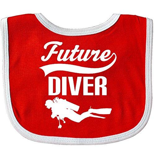 (Inktastic - Future Diver Scuba Diving Baby Bib Red/White)