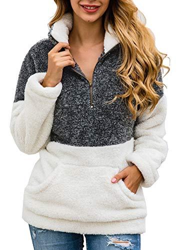 BTFBM Women Long Sleeve Zipper Sherpa Sweatshirt Soft Fleece Pullover Outwear Coat with Pockets (Grey, Large)