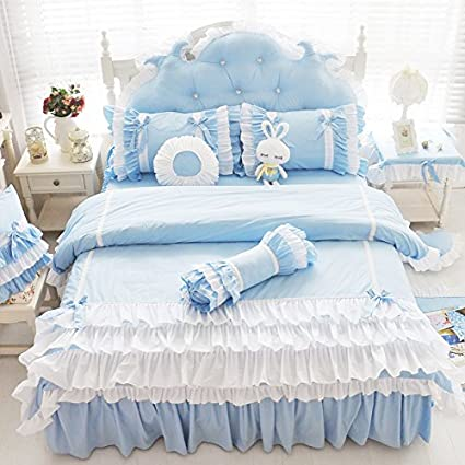 FADFAY White Ruffled Duvet Cover Sets Korean Princess Blue Bedding Girl  Bedroom Sets Queen 8PCS