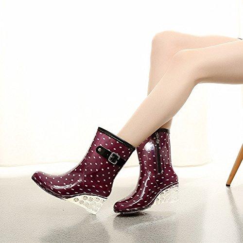 Cuatro Mujer Impermeable de con Transparente Botas Cuñas Botas Lateral de Cremallera Wealsex Zapatos Moda Lluvia Púrpura Hebilla Estaciones Antideslizantes Agua wEdpxUAq