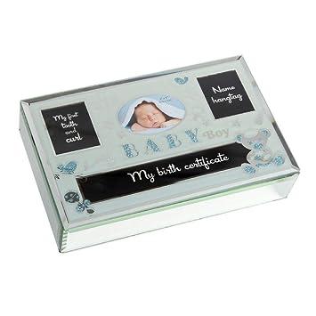Hellblau für Buben verspiegelt mit Fotorahmen Baby Boy Erinnerungsbox aus Glas