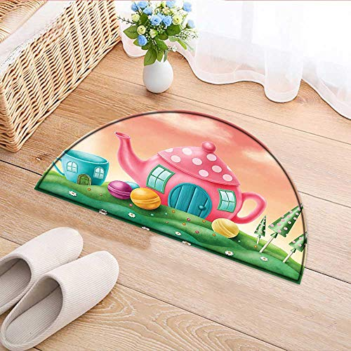 Entrance Hall Carpet Decor Fantasy Teapot and Teacup Houses Wonderland Meadow Teatime Happiness Artwork Pink Green Non Slip Rug W47 x H32 INCH