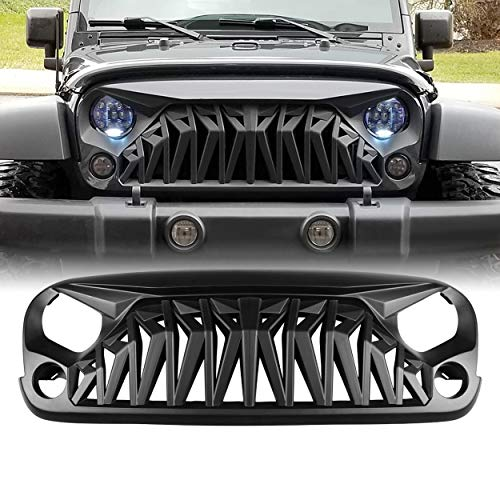 - ALLINONEPARTS Jeep Wrangler JK JKU Grill, Shark Grille for 2007-2018 Jeep Rubicon Sahara Sport, Matte Black, ABS