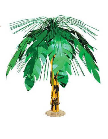 Green Palm Tree Cascade Centerpiece 18in.