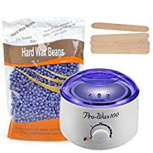 Hot Wax Warmer, Portable Electric Wax Warmer Kit, Waxing Heater with 10.6 OZ Hard Wax Beans and 10 PCS Wax Applicator Sticks for SPA and Hair Removal