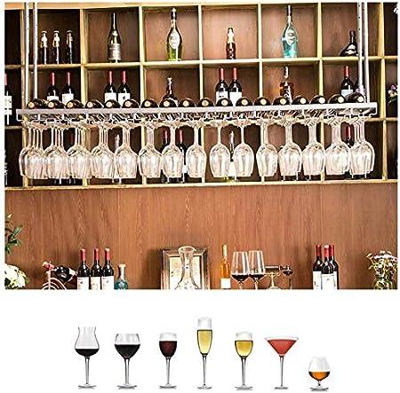 Longxs Soporte de Copa de Vino Soporte de Botella de Techo Colgante Estante de Vidrio Vino Tinto Estante de Botella volcado Decoración Estante de Almacenamiento Hierro para Bar Cocina-60x30cm Plata