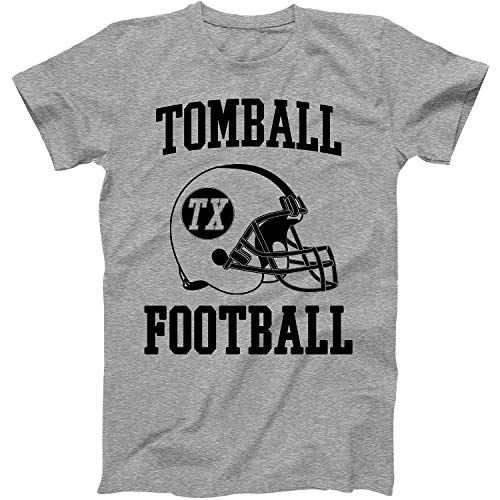 Vintage Football City Tomball Shirt for State Texas with TX on Retro Helmet Style Grey Size Medium -