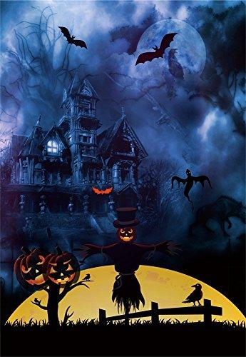 Leowefowa 5X7FT Halloween Backdrop Vinyl Photography Backdrops Hollowmas Haunted Castle Pumpkin Lamps Bats Moon Night Scary Background Kids Adults Costume Party 1.5(W)X2.2(H)M Photo Studio Prop (Scary Family Films Halloween)