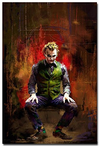 - Lawrence Painting Joker The Dark Knight Rises Movie Art Canvas Poster Print Room Decor Batman Pictures N4