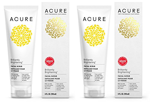 Acure Organics Brightening Facial Scrub  Argan Stem Cell And Chlorella Growth Factor For All Skin Types With Aloe Vera  Acai  Blackberry  Rosehips  Calendula  Chamomile And Rooibos  118Ml  Pack Of 2