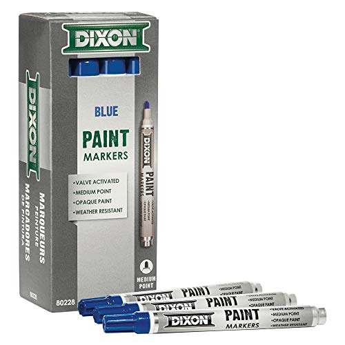 DIXON Industrial Paint Markers, Medium Tip, Box of 12 Markers, Blue (80228)