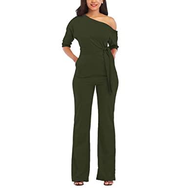 24a3f0696665 JireH Women s One Shoulder Backless Solid Color Basic One-Piece Pants Belt  Sexy Long Sleeve