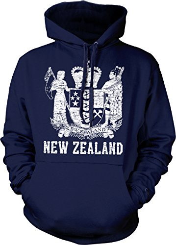 Hoodteez New Zealand Coat of Arms, St. Edward's Crown Hooded Sweatshirt, XL ()