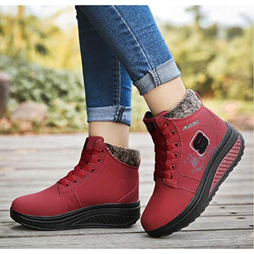 De Mujer Altas Para Zapatos Ocultas Con Botas Cuñas Nieve Alto Moda Zapatillas Tacón Rojo Elevador Altura Aumento Cálidas nYw1qI1d