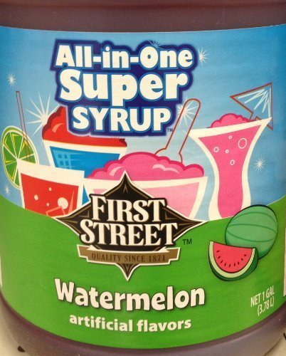 First Street All In One Super Syrup Watermelon 1 Gallon, For Snow Cone Beverage Base Fountain Syrup Slush Shaved Ice by First Street