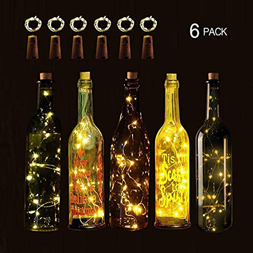 LOGUIDE Warm White Wine Bottle Cork Lights Starry 6.5FT 20 LED String Silver Wire Lights Battery Powered for DIY Bottle Lights,Mason Jar Lights,Christmas,Wedding,Party Decor 6 -