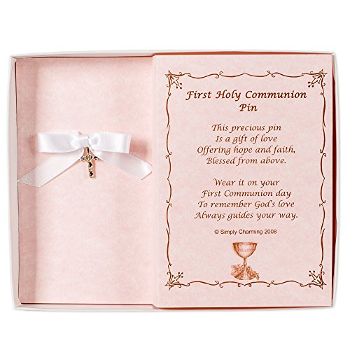 Simply Charming First Communion Pin with Swarovski Crystal Cross and Poem