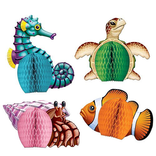 - Sea Creatures Mini Centerpieces 5.5-Inch (4-Pcs)