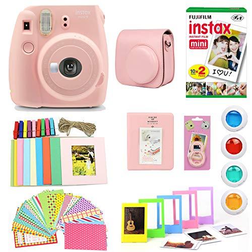 Fujifilm Instax Mini 9 Instant Print Camera (Certified Refurbished) Super Bundle with New Camera Case & Accessories | Photo Album, Photo Stickers, 10 Mini Frames & More (Rose Quartz)