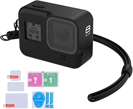 Silicone Lanyard LARRITS Protective Silicone Sleeve Case Black Glass Screen and Lens Protector for GoPro Hero 8 Black