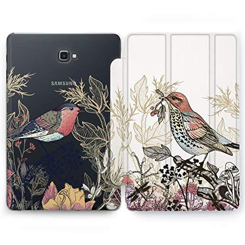 Wonder Wild Spring Birds Samsung Galaxy Tab S4 S2 S3 A E Smart Stand Case 2015 2016 2017 2018 Tablet Cover 8 9.6 9.7 10 10.1 10.5 Inch Clear Design Beautiful Colorful Hard Plastic Nature Plant ()