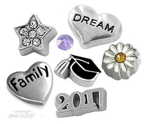 7 Pc 2017 DELUXE Graduaton Graduate Floating Charms - Fits ALL Living Memory Glass ()