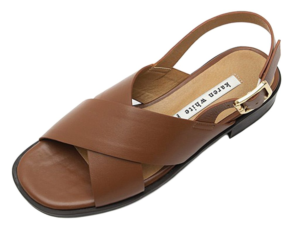 KAREN WHITE Women's Slide Sandals Genuine Leather Brown Summer Flat Slippers 5 Brown