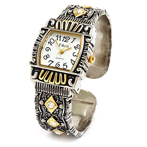 2Tone Western Style Decorated Crystal Band Women's Bangle Cuff (Western Style Bangle Watch)