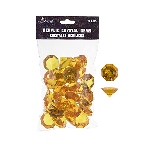 Mega Crafts 1/2 lb Acrylic Large Diamonds Orange | Plastic Glass Gems For Arts And Crafts, Vase Fillers And Table Scatters, Decoration Stones, Shiny Pebbles