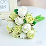 Meiliy Silk Artificial Flower Fake Floral Rose Flower Simulation Rose for Home Hotel Office Wedding Party Garden Craft Art Decor, White