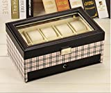 GFYWZ Watch Box 10 Mens PU Leather Display Glass Top Jewelry Case Organizer Jewelry Box Watch display stand , 3