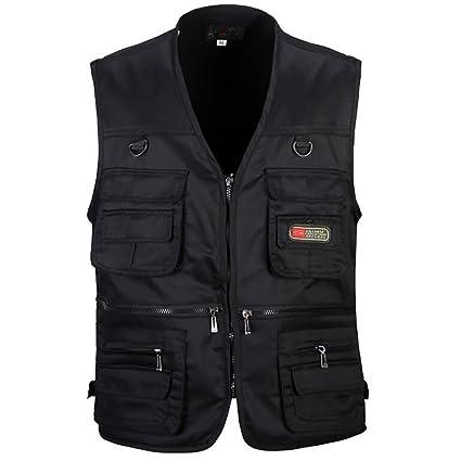 FHTD Chaleco de trabajo para hombre, talla grande, con bolsillos, chaleco de trabajo