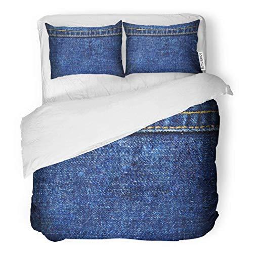 PENGTU PremiumDuvet Cover Set Closeup Blue Denim Seam Color Fade Fiber Flat Decorative Bedding Set with Pillow Case Twin Size