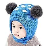 Little Kid Winter Warm Hat,Jchen(TM) Newborn Kids Baby Boy Girl Pom Hat Winter Warm Cartoon Beanie Cap Scarf Set for 0-3 Years Old (Blue)