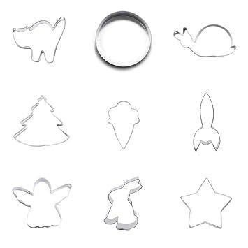 9 cortadores de galletas de metal para fondant, 5 puntas, diseño de conejo, liebre, ángel y cohete: Amazon.es: Hogar