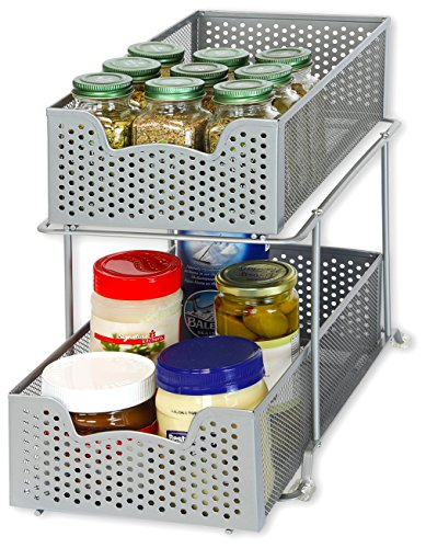 14' Bathroom Sink - Simple Houseware 2 Tier Sliding Cabinet Basket Organizer Drawer, Silver