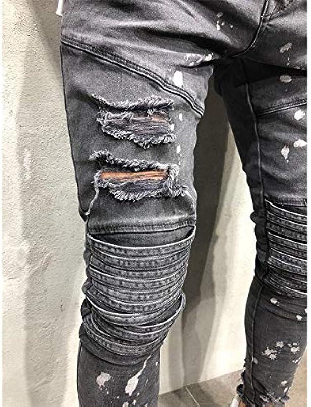 QMGLBG XXL Größe/Neue Röhrenjeans mit Revers und Tupfenmuster für Męskie zerstören abgenutzte und abgenutzte Slim-Jeans: Küche & Haushalt