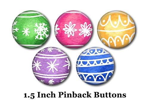 Holiday Christmas Pin (Christmas Pins - Holiday Pins - 5 Pinback Buttons - 1.5