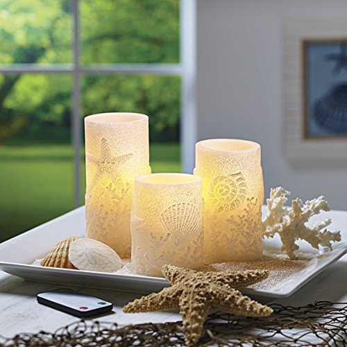 Better Homes and Gardens Flameless LED Pillar Candles 3-Pack Sea Shells by Better Homes and Gardens Flameless Candles